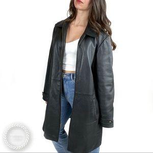 EDDIE BAUER Long Leather Zipper Coat
